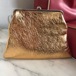 Vintage gold clutch/makeup bag